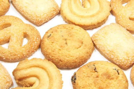 Cookies Used as a Full Background on a White Surface Stock Photo - 3180797