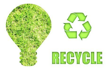 bombillo ahorrador: Going Green y el ahorro de nuestro planeta s�mbolo y concepto