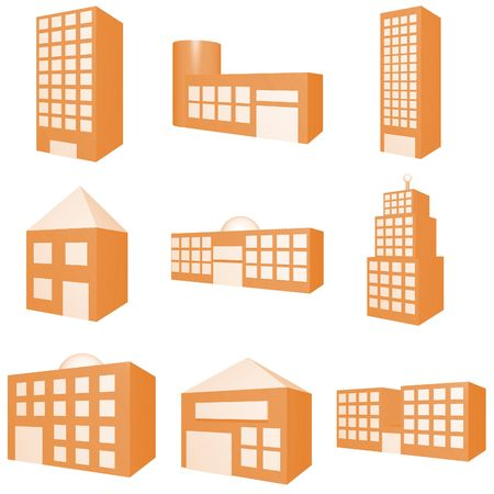 Building Icon Set in Orange photo