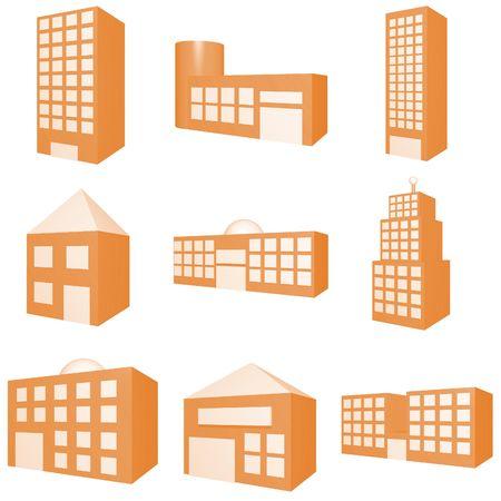 Building Icon Set in Orange Stock Photo