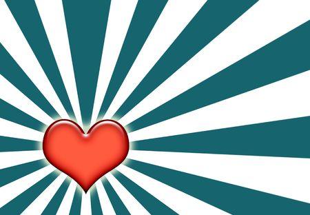 corazon: Love Wallpaper Background on Sunburst Blue and White