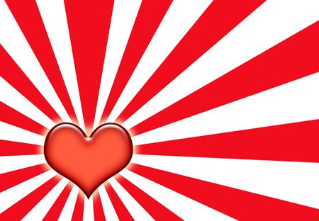 corazon: Love Wallpaper Background on Sunburst Red and White