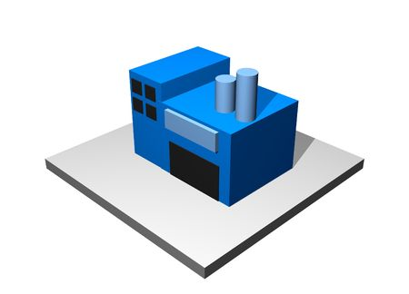 Industrial Building - Industrial Manufacturing Diagram Set in Blue photo