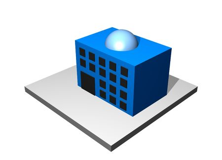 Office Building - Industrial Manufacturing Diagram Set in Blue photo