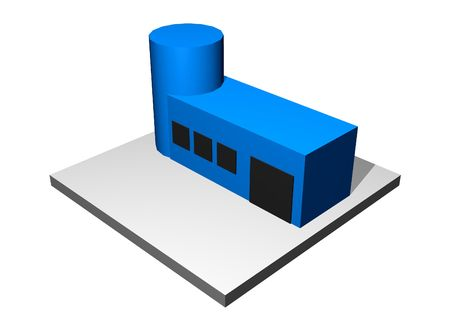 research facilities: Research and Development - Industrial Manufacturing Diagram Set in Blue Stock Photo