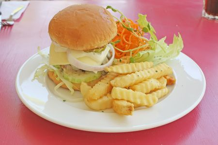 junkfood: Classy Restaurant Hamburger Meal During the Day Stock Photo