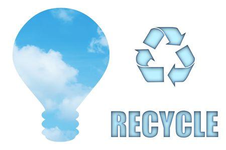 bombillo ahorrador: Reciclar y salvar nuestro planeta de la bombilla de Aire Limpio