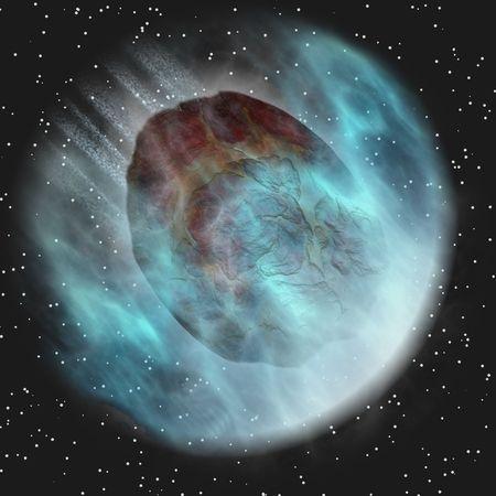 meteors: Meteor Entering Earth Atmosphere Before Impact In Space Stock Photo