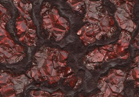 uncut: Ruby Stones Buried in Host Rock Bed Abstract Background