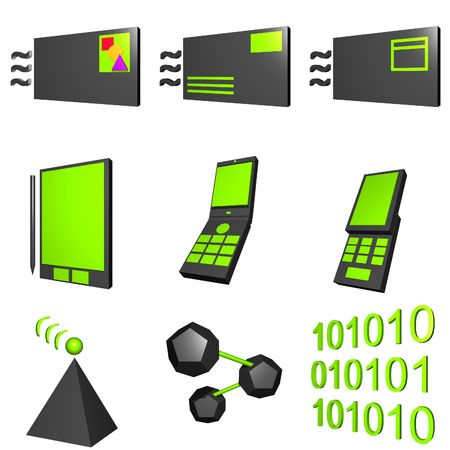 Mobile Market Icons Set Black and Green photo