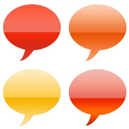 Cartoony Aqua Speech Bubbles isolated on white background Stock Photo - 3311446