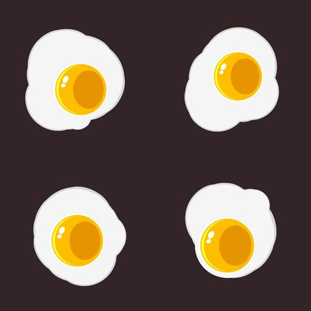 whites: Sunny Side Up Eggs Variations Isolated on Background