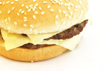 junkfood: Double Cheese Burger the ultimate fast food meal Stock Photo