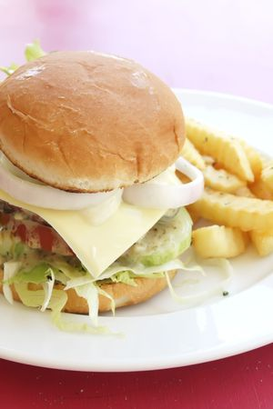 junkfood: Burger and Fries on a Plate During the Day