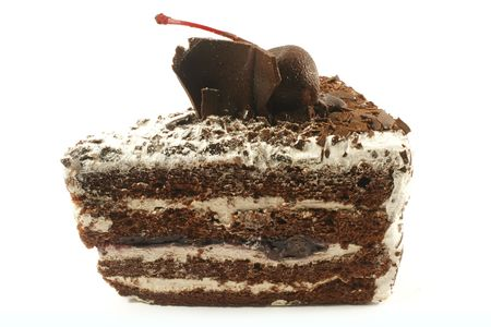 Black Forest Cake Slice Isolated on a White Background photo