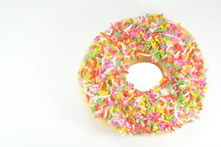 doughnut: Donut with Colored Rice Sprinkle Isolated on a White Background
