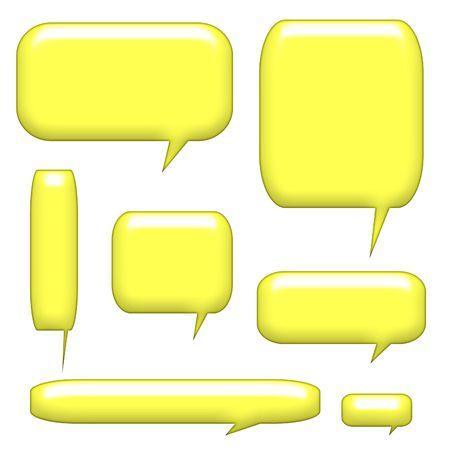 bijschrift: 3D bijschrift mededeling Bubbles geïsoleerd op een witte achtergrond Stockfoto