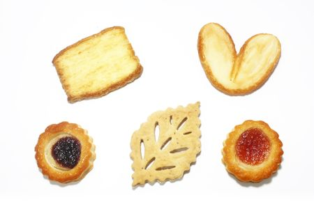 Assorted Pastry Cookies Isolated on a White Background photo
