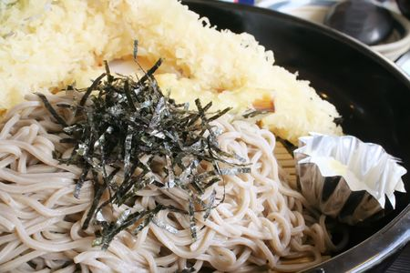 Soba Noodle and Tempura Street Food During the Day photo