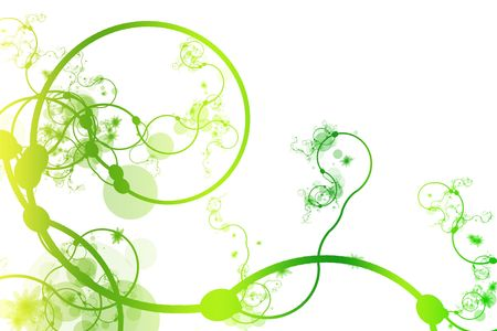 Green Abstract Curving Line Vines in White Background