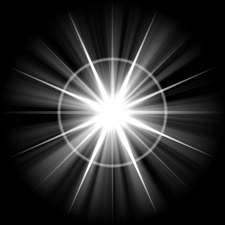 guiding light: Northern Star Isolated on a black background