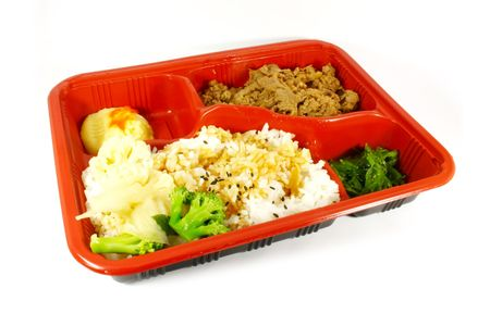 junkfood: TV Dinner Set With Beef, Rice and Vegetables