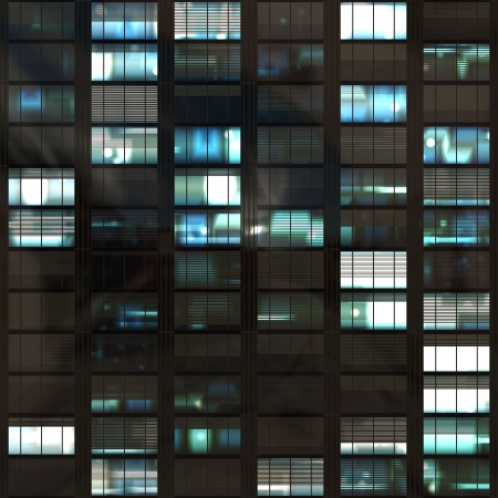 highrise: Office Skyscraper Windows During Night Time Abstract