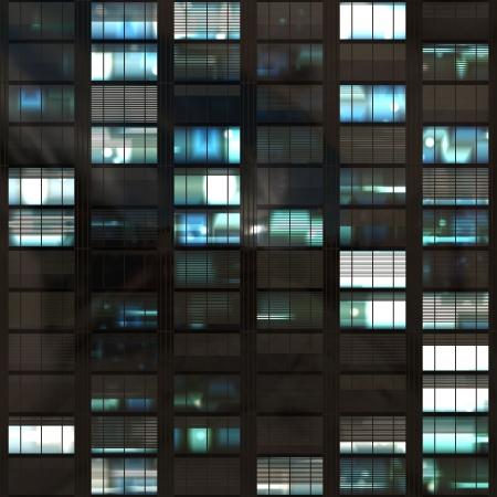 rascacielos: Oficina de rascacielos de Windows durante el per�odo nocturno Resumen