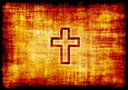 Christian Holy Cross Engraved on Parchment Background Stock Photo - 3427603