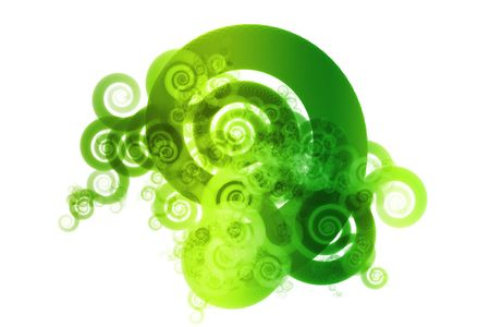 Green Spectrum Color Blend Abstract Design Background on White Stock Photo