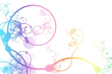 curving: Rainbow Abstract Curving Line Vines in White Background