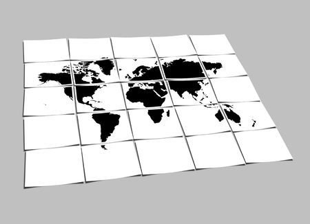 World Map Concept of Separated Note Papers Abstract Background photo