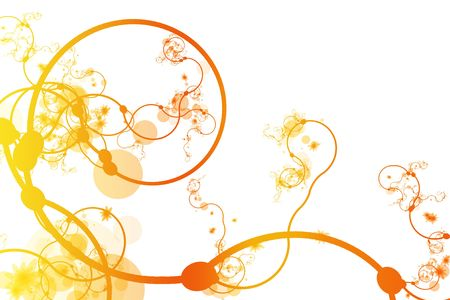 Orange Abstract Curving Line Vines in White Background Stock Photo - 3479790