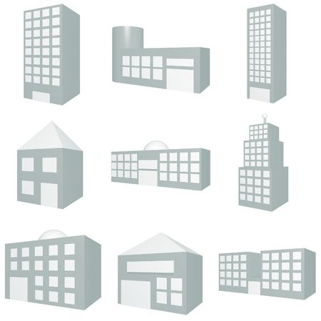 Building Icon Set in Blue Stock Photo - 3479779