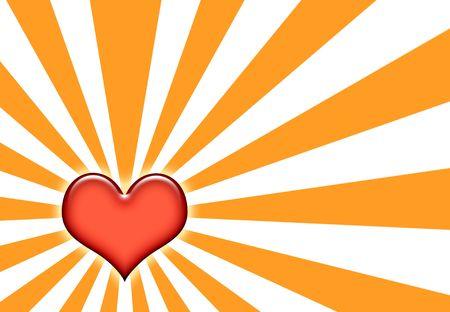 corazon: Corazon Sunburst Abstract Wallpaper on orange and White Stock Photo