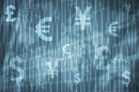 Currencies Collage Abstract Background in Blue Colors photo