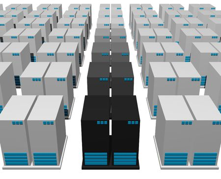 webhosting: Servers from a Webhosting Company With a White Background Stock Photo