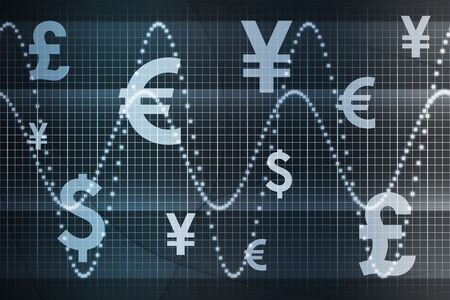 Blue Global Currency Business Abstract Background Wallpaper Stock Photo - 3529575