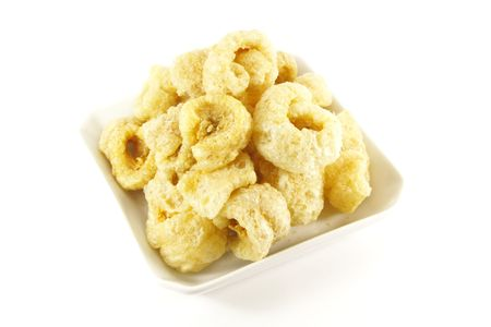 rinds: Pork Rinds also known as Chicharon in the Philippines Stock Photo