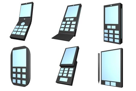 cel: Handphone Designs Icons isolated on white background Stock Photo