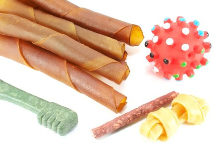 Toys and Treats On a White Surface Stock Photo - 3529579