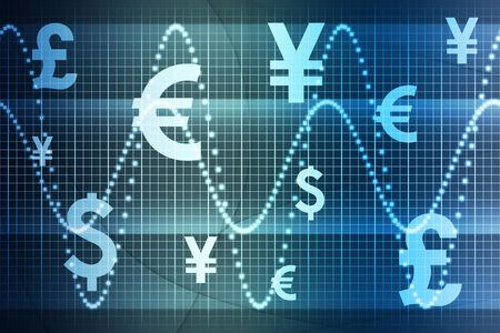 Blue World Currencies Business Abstract Background Wallpaper Stock Photo - 3529940