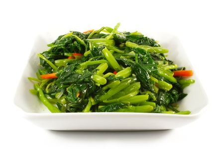 green's: Asian Chinese Cooking Style Stir Fry Vegetable Dish on White Plate