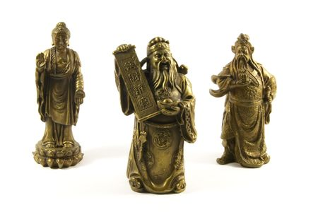 deities: Traditional Chinese Gods and Deities Isolated on a White Background
