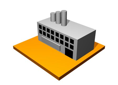 Factory Industrial Building 3d Collection Series in Orange