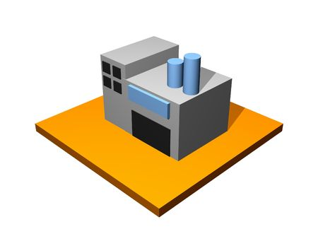 Factory Building 3d Collection Series in Orange photo
