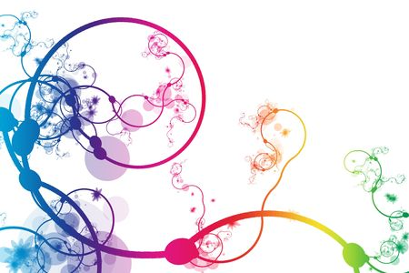 rainbow abstract: Rainbow Abstract Curving Line Vines in White Background