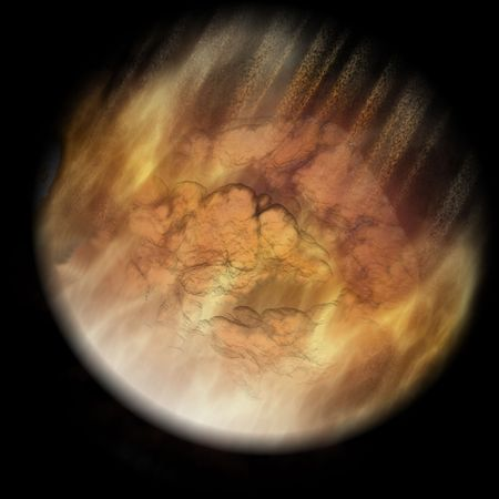 meteorites: Meteor Entering Earth Atmosphere Before Impact In Space Stock Photo