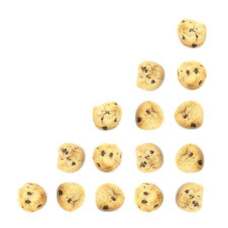 negocios comida: Cookie empresa alimentaria gr�fico que indica el crecimiento en el fondo blanco