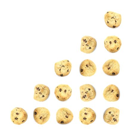 multiplying: Cookie Food Business Chart Indicating Growth on White Background Stock Photo